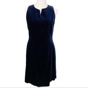 LAURA ASHLEY Vintage Sheath Dress Blue Velvet 10